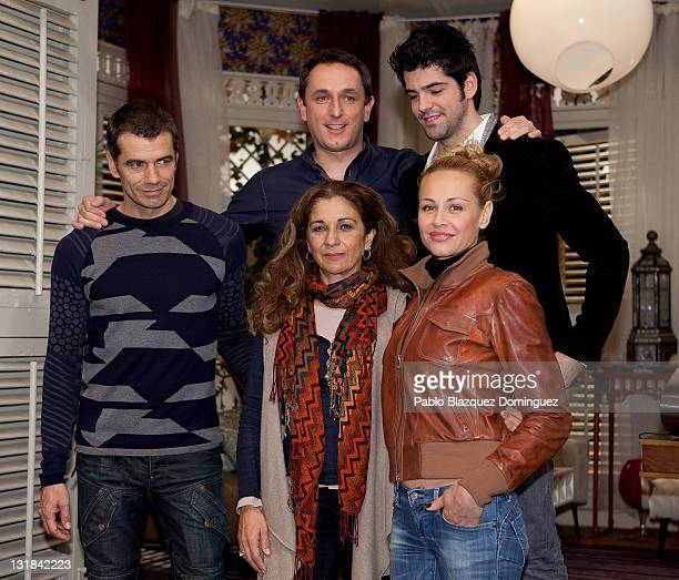 Spanish actors Lolita Flores Esther Arroyo Toni Canto Javier Tolosa and Miguel Angel Munoz attend a photocall for the new sitcom 'Vida Loca' at...