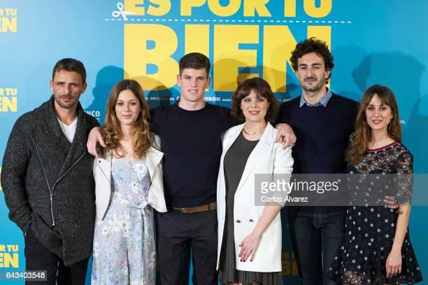 Spanish actors Luis Mottola Georgina Amoros Miguel Bernardeau Andrea Ros Miki Esparbe and Silvia Alonso attend 'Es Por Tu Bien' photocall at Hesperia...