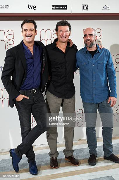 "Spanish actors Luis Tosar, director Julio Medem and Asier Etxeandia attend ""Ma ma"" photocall at the Villamagna Hotel on September 8, 2015 in Madrid,..."
