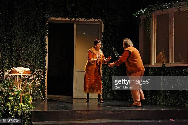 Spanish actors Luisa Martin and Manuel Galiana perform during the dress rehearsal of the play 'En el oscuro corazón del bosque' by Jose Luis Alonso...