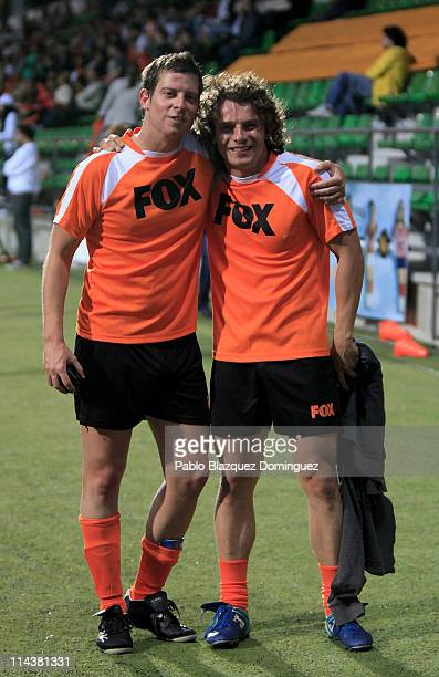 Spanish actors Manu Baqueiro and Aure Sanchez play a charity football match at Football City on May 18 2011 in Las Rozas Spain