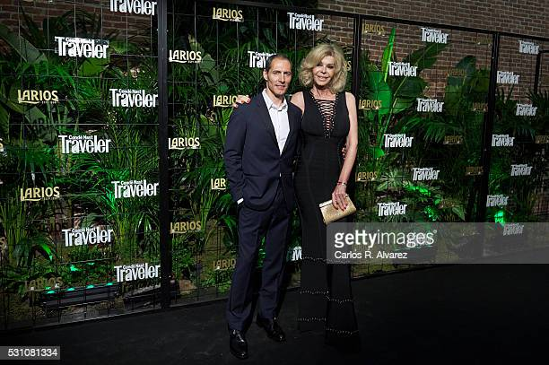 Spanish actors Manuel Bandera and Bibi Andersen attend the Conde Nast Traveler awards 2016 at the Conde Duque cultural center on May 12 2016 in...
