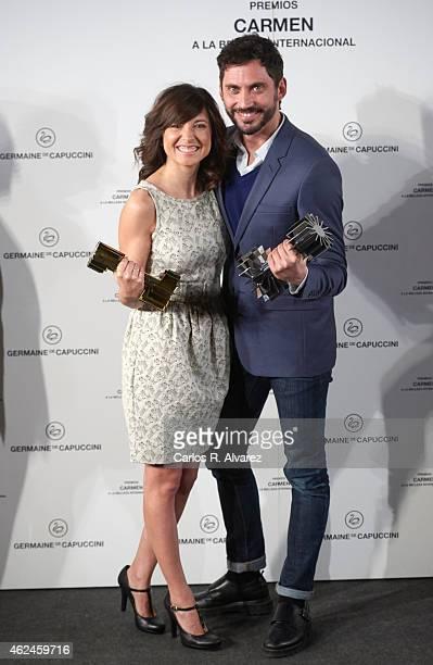 Spanish actors Marian Alvarez and Paco Leon receive the 'Carmen a la Belleza Mas Internacional del Cine Espanol' cosmetic awards by Germaine de...
