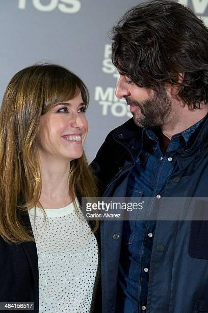 "Spanish actors Marta Etura and Eduardo Noriega attend the ""Presentimientos"" photocall at the Princesa cinema on January 21, 2014 in Madrid, Spain."