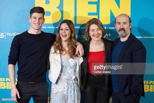 Spanish actors Miguel Bernardeau Georgina Amoros Maria Pujalte and Javier Camara attend 'Es Por Tu Bien' photocall at Hesperia Hotel on February 21...