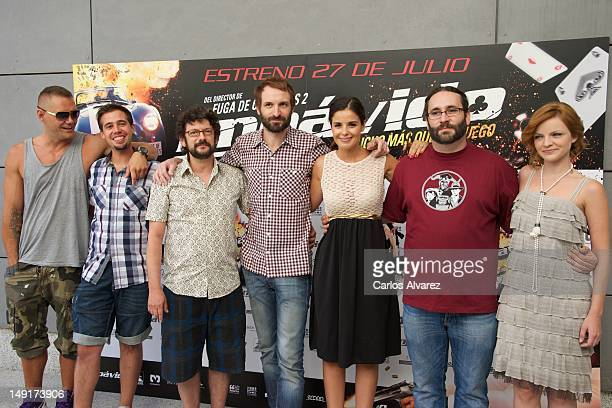 "Spanish actors Nacho Vidal, Selu Nieto, Manolo Solo, Julian Villagran, Marta Torne, director Carlos Theron and Carolina Bona attend ""Impavido""..."