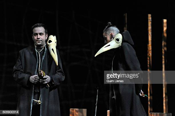 Spanish actors of the Ron Lala Company perform during the dress rehearsal of the 'Cervantina' a play made with some works of Miguel de Cervantes to...