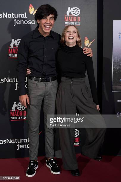Spanish actors Oscar Casas and Laia Manzanares attend 'Proyecto Tiempo' press conference at the Callao cinema on November 9 2017 in Madrid Spain