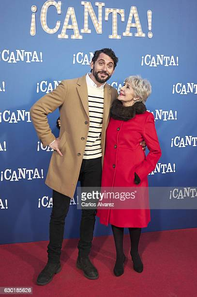 Spanish actors Paco Leon and Concha Velasco attend 'Canta' premiere at Capitol cinema on December 18 2016 in Madrid Spain