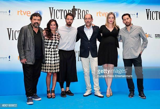 Spanish actors Paco Tous Paula Prendes Carles Francino Tomas del Estal Carolina Bang and Javier Godino attend 'Victor Ros' photocall at Escoriaza...