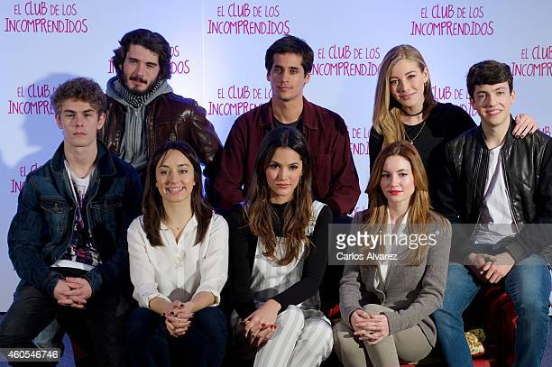 Spanish actors Patrick Criado Yon Gonzalez Andrea Trepat Michelle Calvo Alex Maruny Ivana Baquero Charlotte Vega and Jorge Clemente attend 'El Club...