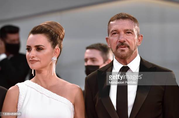 """Spanish actors Penelope Cruz and Antonio Banderas on the red carpet of the movie """"Competencia Oficial"""" during the 78 Venice International Film..."""
