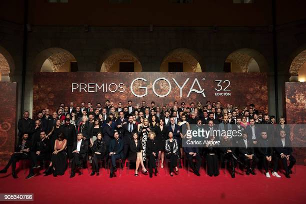 Spanish actors pose for a photo family during the Goya cinema awards candidates 2018 meeting at Casa de Correos on January 15 2018 in Madrid Spain