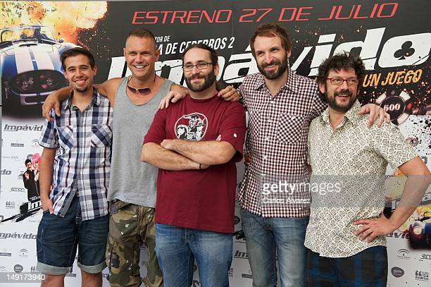 "Spanish actors Selu Nieto, Nacho Vidal, director Carlos Theron, Julian Villagran and Manolo Solo attend ""Impavido"" photocall at Academia de Cine on..."