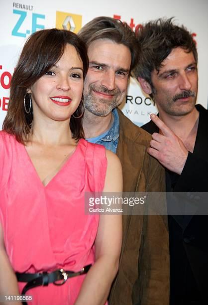 Spanish actors Veronica Sanchez Alberto San Juan and Ernesto Alterio attend the Fotogramas Awards 2012 at Joy Eslava Club on March 12 2012 in Madrid...