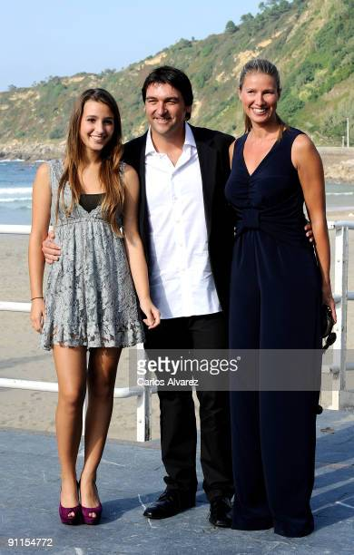 Spanish actress Aia Kruse director Javi Elortegi and actress Anne Igartiburu attend 'Zorion Perfektua' photocall at the Zurriola Maritimo Club during...