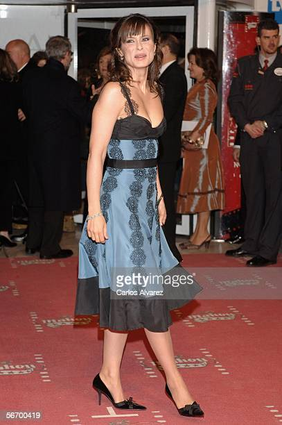 Spanish actress Aitana Sanchez Gijon attends the Goya Cinema Awards 2006 the main Spanish cinema awards at Palacio de Congresos on January 29 2006 in...