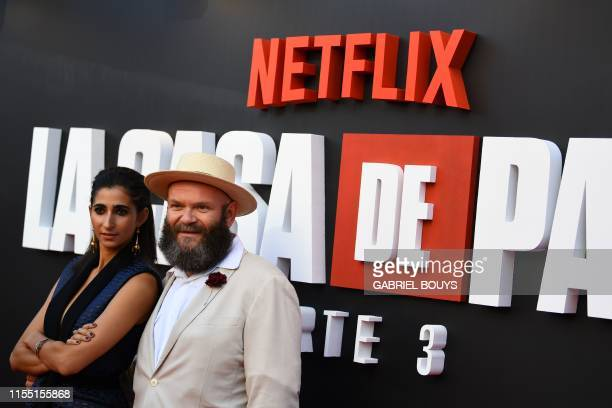 Spanish actress Alba Flores and Serbian actor Darko Peric pose during a photocall for the presentation of the third season of the Spanish TV show La...