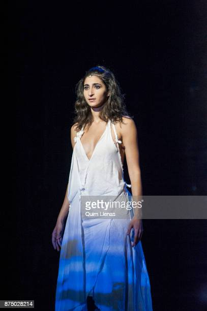 Spanish actress Alba Flores performs during the dress rehearsal of the play 'Troyanas' by Euripides on stage at the Espanol Theatre on November 8...