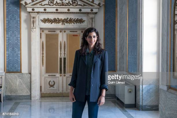 Spanish actress Alba Flores poses for a portrait session after the presentation of the play 'Troyanas' by Euripides at the Espanol Theatre on...