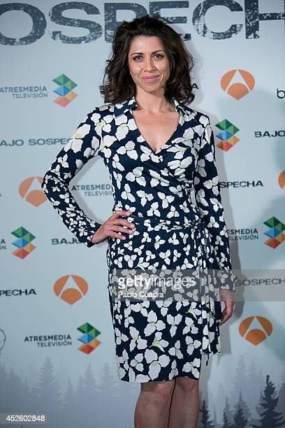 Spanish actress Alicia Borrachero attends 'Bajo Sospecha' Set Filming Presentation in Madrid on July 24 2014 in Madrid Spain