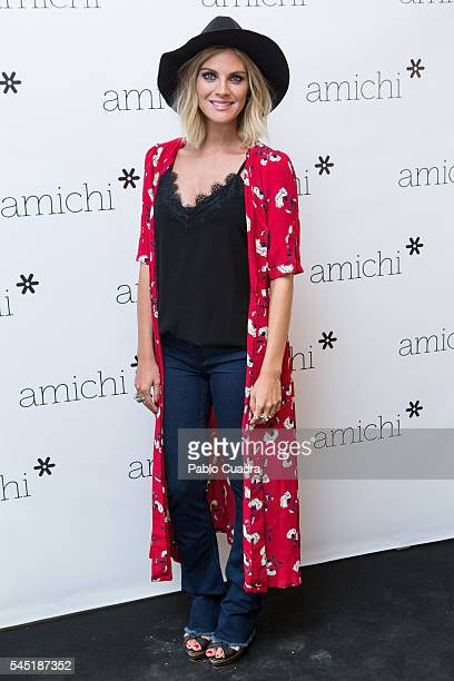 Spanish actress Amaia Salamanca attends a photocall as she is announced as Amichi new image on July 6, 2016 in Madrid, Spain.