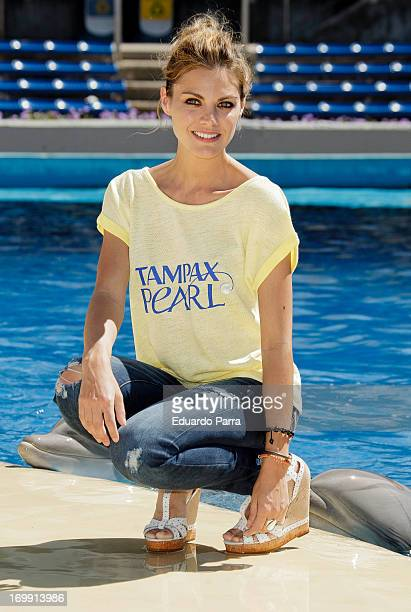 Spanish actress Amaia Salamanca attends new image of Tampax Pearl press conference at Madrid ZOO on June 4, 2013 in Madrid, Spain.