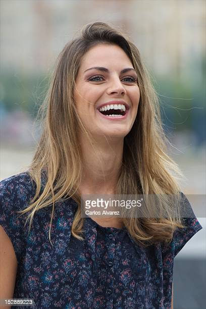 Spanish actress Amaia Salamanca attends the Atraco photocall at the Kursaal Palace during the 60th San Sebastian International Film Festival on...
