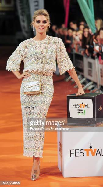 Spanish actress Amaia Salamanca attends 'Tiempo de Guerra' premier at the Principal Teather during the FesTVal 2017 on September 6 2017 in...