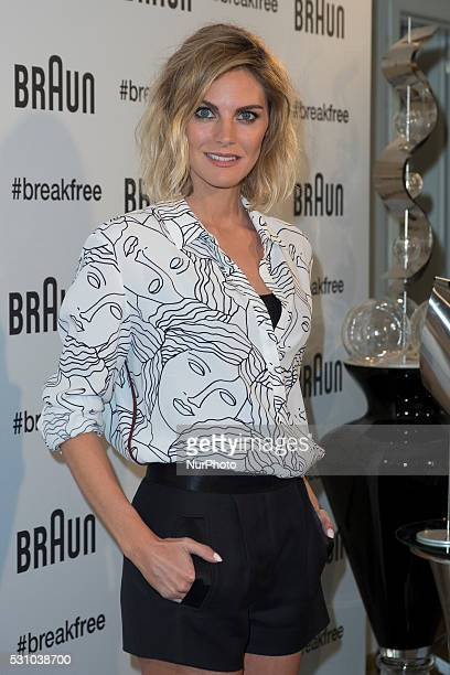 Spanish actress Amaia Salamanca presents the new 'Braun' products at Las Letras Hotel on May 12 2016 in Madrid Spain