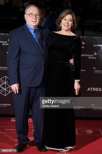 Spanish actress Amarna Miller and Fernando Mendez Leite attend the 'Brava' premiere on day 5 of the 20th Malaga Film Festival at the Cervantes...