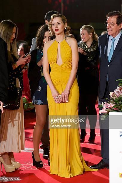 Spanish actress Ana de Armas attends the Por un Punado de Besos premiere during the 17th Malaga Film Festival 2014 Day 6 at the Cervantes Theater on...