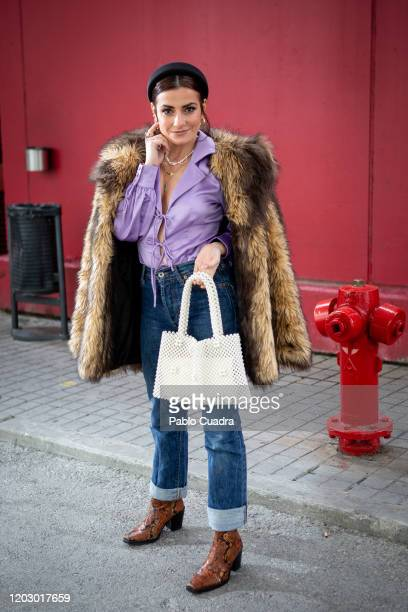 Spanish actress Ana del Rey, wears KMB shoes, Energy Vintage trousers, mango handbag, Fashion Union Petite shirt, Aos coat and Aristocrazy jewelry at...