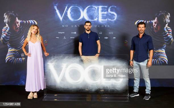 Spanish actress Ana Fernandez spanish director Ángel Gomez and spanish actor Rodolfo Sancho during photocall of 'Voces' film at Cines Verdi on July...