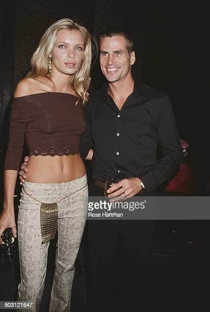 Spanish actress and model Esther Canadas and her husband Dutch model Mark Vanderloo attend a private party circa 1998