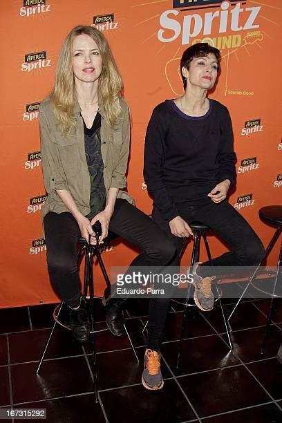 Spanish actress and singer Nawja Nimri and Spanish singer Christina Rosenvinge present 'Aperol Spritz Sound Agenda' at San Anton market on April 24...