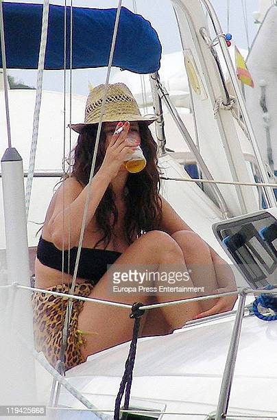 Spanish actress Angie Cepeda is sighting on vacation on July 20 2011 in Ibiza Spain