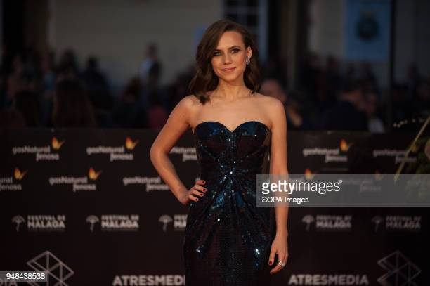Spanish actress Aura Garrido poses on the red carpet outside of the Cervantes Theatre during the 21th International Malaga Film Festival in Malaga