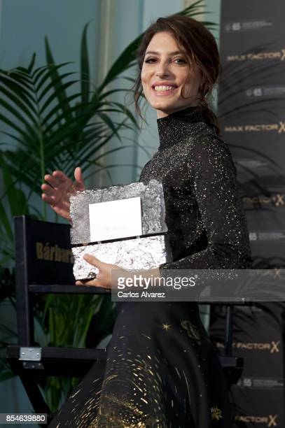 Spanish actress Barbara Lennie receives the Max Factor awards during the 65th San Sebastian International Film Festival at Maria Cristina Hotel on...