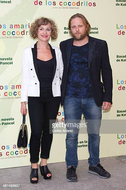 Spanish actress Barbara Merlo and actor Juan Diaz attend the Los Ojos Amarillos de los cocdrilos premiere at the Academia de Cine on April 30 2014 in...