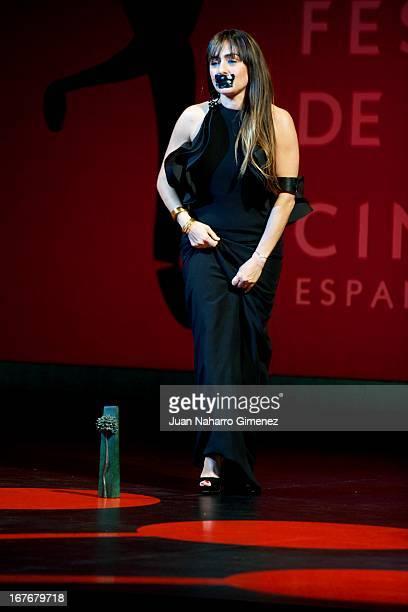 Spanish actress Candela Pena of film Ayer No termina Nunca and Aura Garrido of Stockholm both receive the Best Actress Biznaga de Plata Award during...