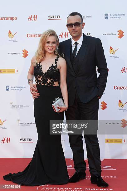 Spanish actress Carla Nieto and boyfriend Risto Mejide attend 'La Deuda' premiere at the Cervantes Theater during the 18th Malaga Film Festival on...