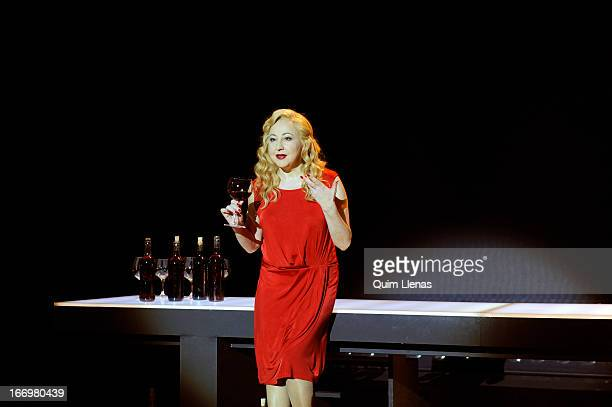 Spanish actress Carmen Machi performs during the dress rehearsal of 'Juicio a una zorra' play on stage at La Abadia Theatre on April 17 2013 in...