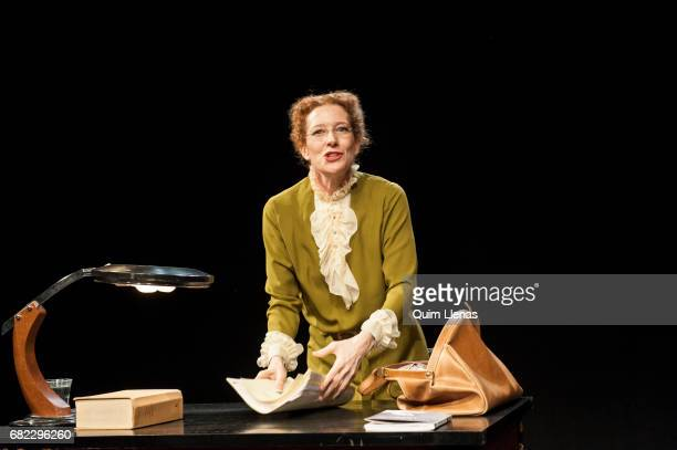 Spanish actress Clara Sanchis perform during the press preview of the play 'Una habitación propia' by Virginia Woolf on stage at the Espanol Theatre...