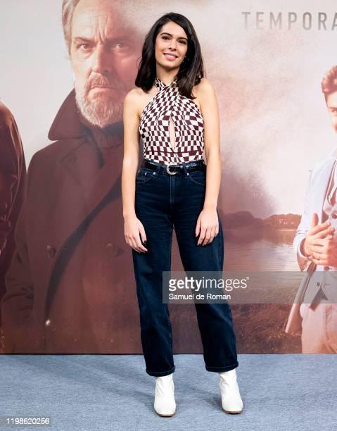 Spanish actress Claudia Traisac attends 'Vivir Sin Permiso' Mediaset Presentation on January 10 2020 in Madrid Spain