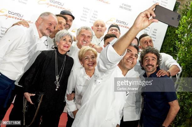Spanish actress Concha Velasco pose with Spanish chefs Francis Paniego Paco Roncero Tono Perez Jesus Sanchez Diego Guerrero Susi Diaz Pepe Vieira...