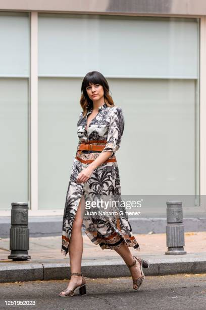 Spanish actress Cristina Abad wears Laura Bernal dress and Pitillos shoes on June 24, 2020 in Madrid, Spain.