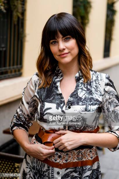 Spanish actress Cristina Abad wears Laura Bernal dress and Pitillos shoes on June 24 2020 in Madrid Spain