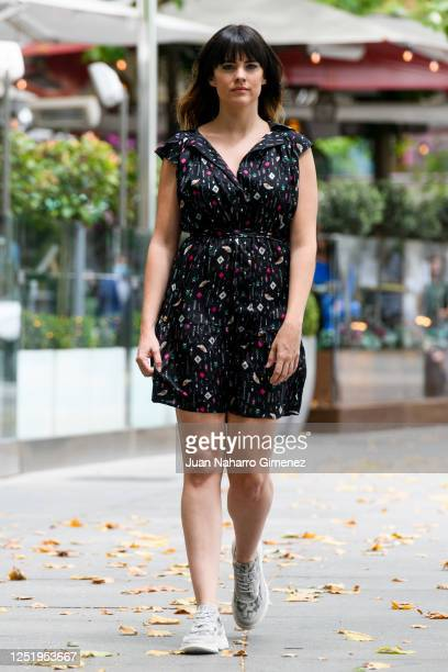 Spanish actress Cristina Abad wears Manila Grace dress and Pitillos shoes on June 24 2020 in Madrid Spain