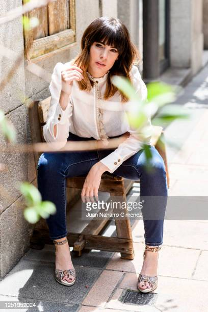 Spanish actress Cristina Abad wears Manila Grace shirt LolitasL and Pitillos shoes on June 24 2020 in Madrid Spain